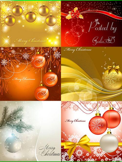 Набор красивых новогодних фонов в векторном формате