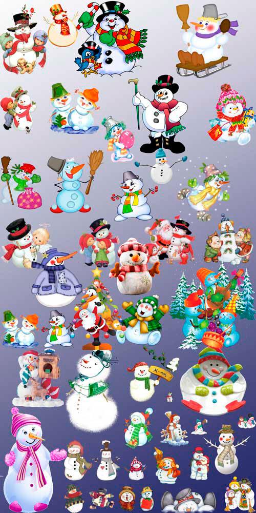 Клипарты - Новогодние Снеговики
