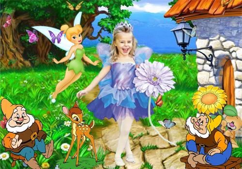 Детский шаблон для фотошопа - В стране гномов и эльфов