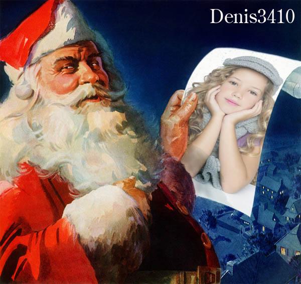 Новогодняя рамка для фото - Фотография в руках у Санта Клауса