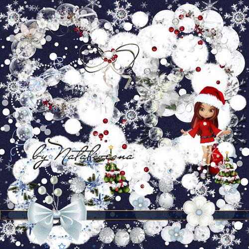 Новогодние рамки – вырезы  со снежками и снежинками