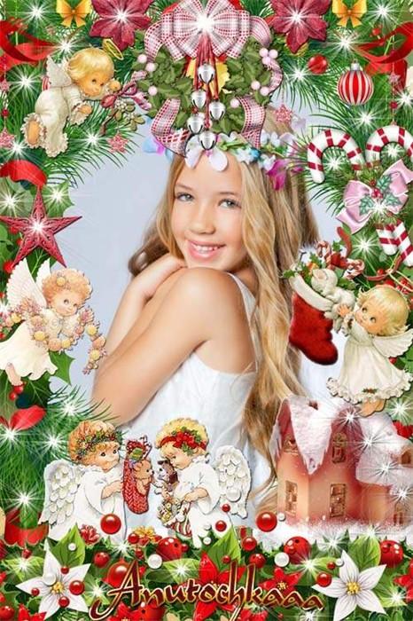 Красивая рождественская рамочка с ангелочками