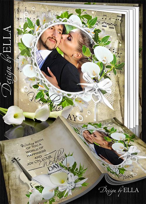 Шаблон свадебной фотокниги-Беллые каллы и лилии