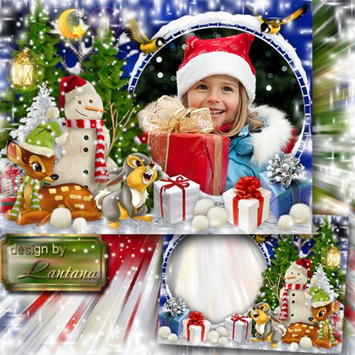 Детская рамочка - На лесной опушке праздник Новый год