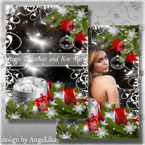 PSD исходник - Праздничная открытка и фоторамка с ёлочными шарами и снежинк ...