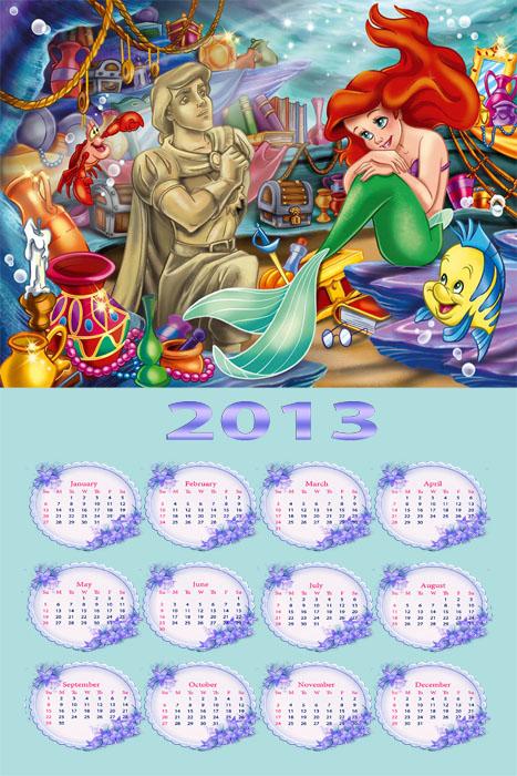 Календарь 2013 года  - Русалочка, первая любовь