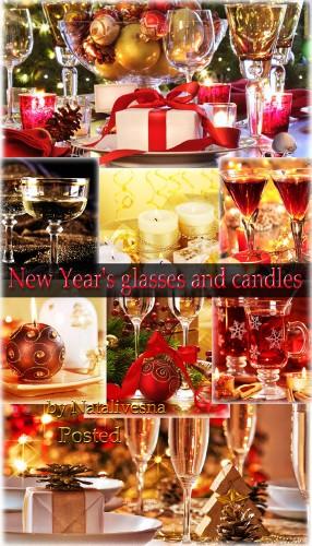 Подборка новогодних картинок – Настроенье праздника - свечи и бокалы