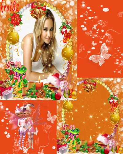 Красивая зимняя рамка для фотошопа – Змея, подарки и игрушки