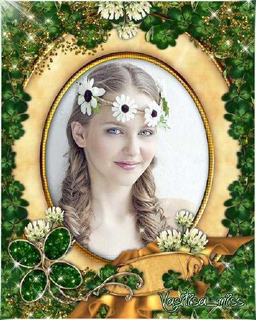 Женская рамка - Нежные цветы клевера