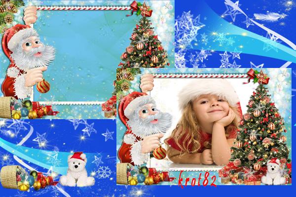 Новогодняя рамка для фото – Дед Мороз поможет украсить елку