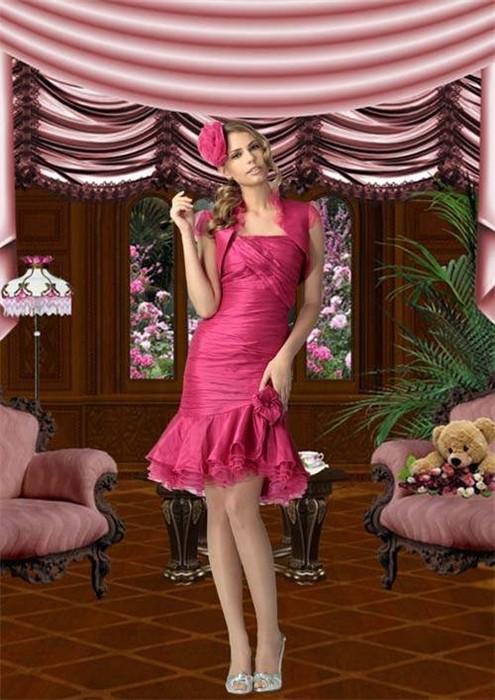 Женский шаблон для фотошопа - Девушка в богатом доме