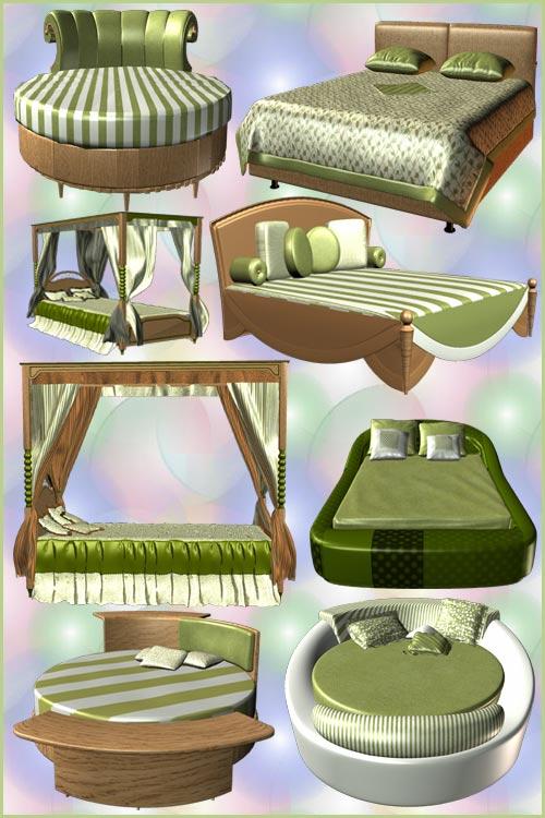 Клипарт PNG - Модные Кровати