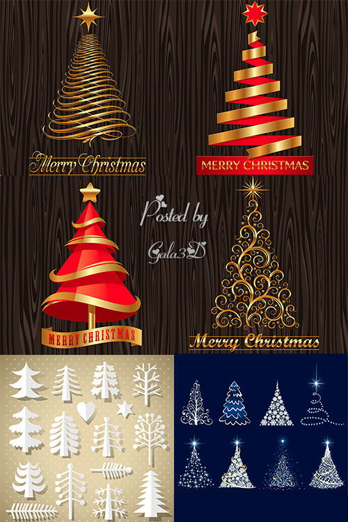 Коллекция векторных рождественских ёлочек