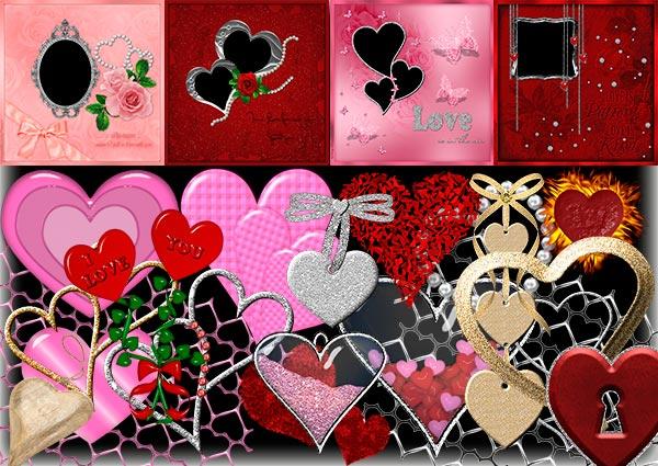 Клипарт - рамка с сердечками PNG прозрачный фон