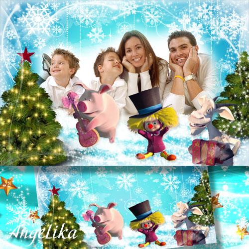 Детская фоторамка с героями мультфильма Маша и медведь - Зимние забавы