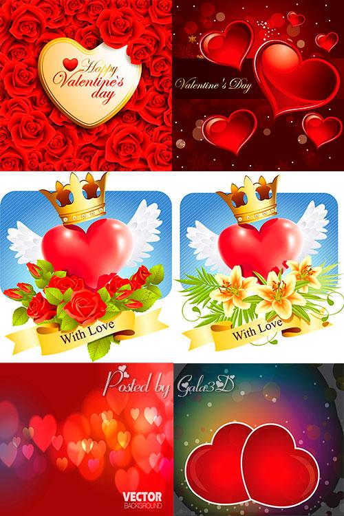 Векторные фоны  с сердцами 2