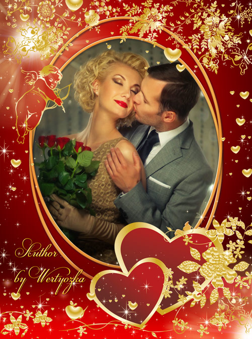 Рамка для фотошопа - Колдовство любви в день святого валентина