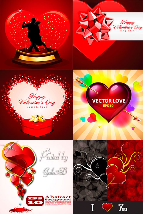 Векторные фоны  и открытки с сердцами