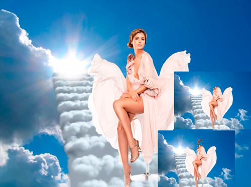 Шаблон для фотошопа - Девушка в небесах
