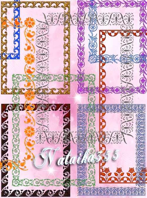 Рамки вырезы для дизайна - Волны, цветы, завитки