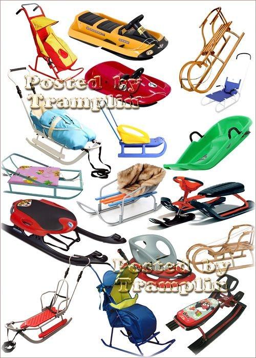 Клипарт – Детские санки, снегокаты, коляски