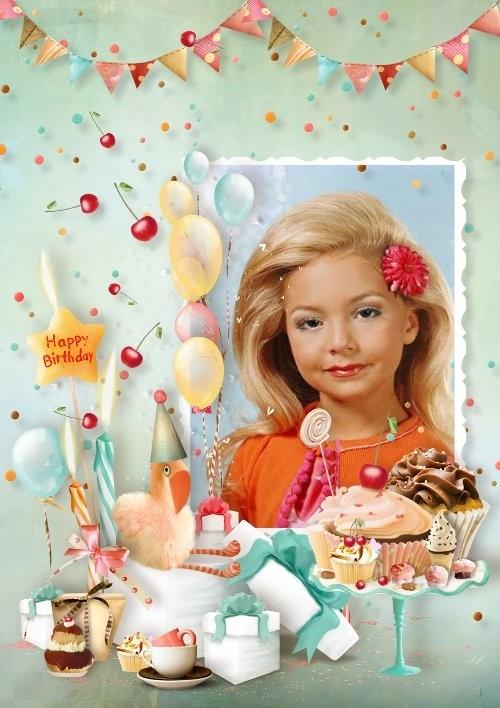 Детская рамка для фото - С днём рождения