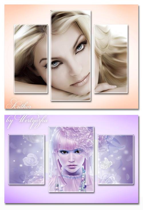 Триптихи в psd формате - Фантастические девушки, фэнтези, красивые девушки