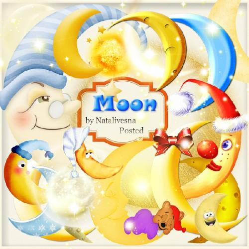 Клипарт в PNG – Забавная Луна