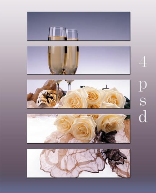 Диптихи, триптихи и полиптихи - Натюрморты, вино, бокалы, розы, цветы