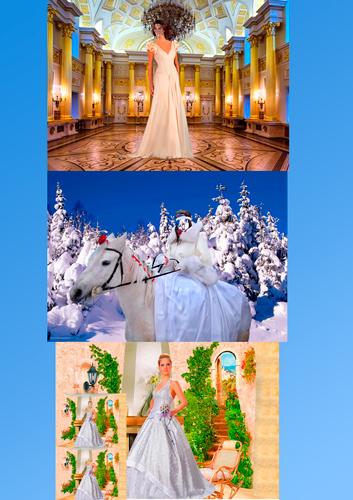Шаблоны для фотошопа - Девушки в свадебных платьях
