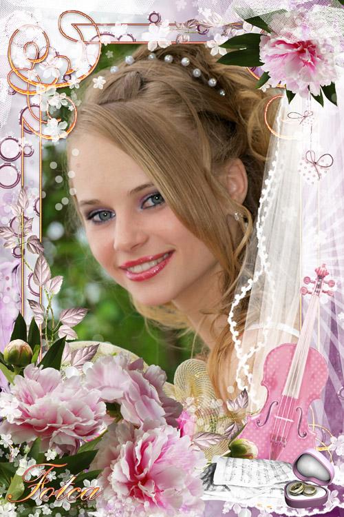 Красивая свадебная рамка для фото с розовыми пионами
