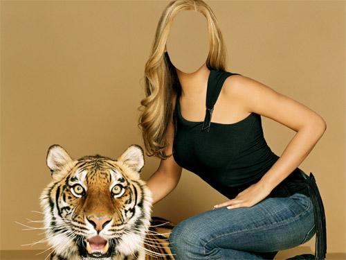 Шаблон для фотошопа - девушка с тигром 2
