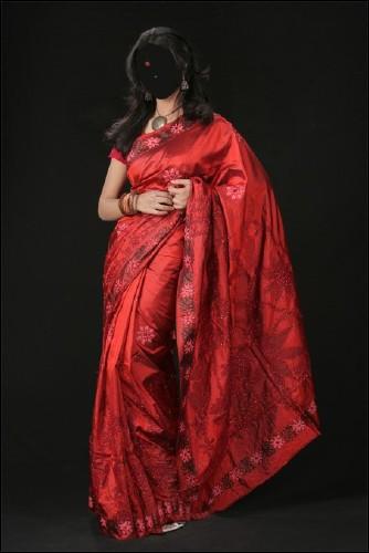 Красное сари - шаблон женский