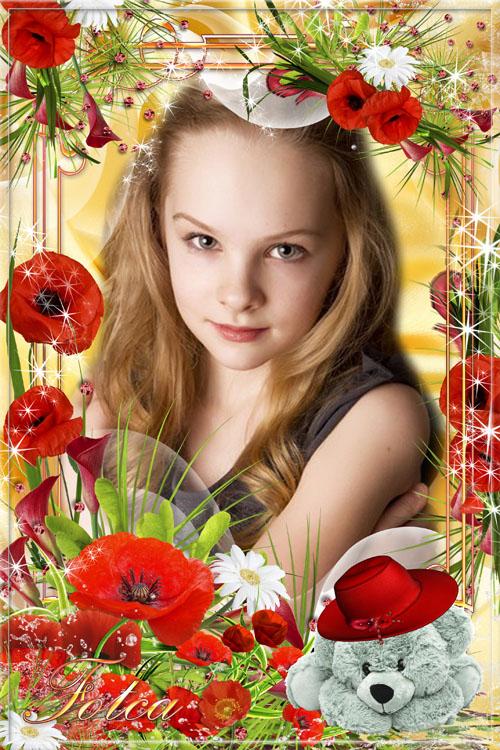 Цветочная рамка для фото -  Поглядите, там и тут, Маки красные цветут