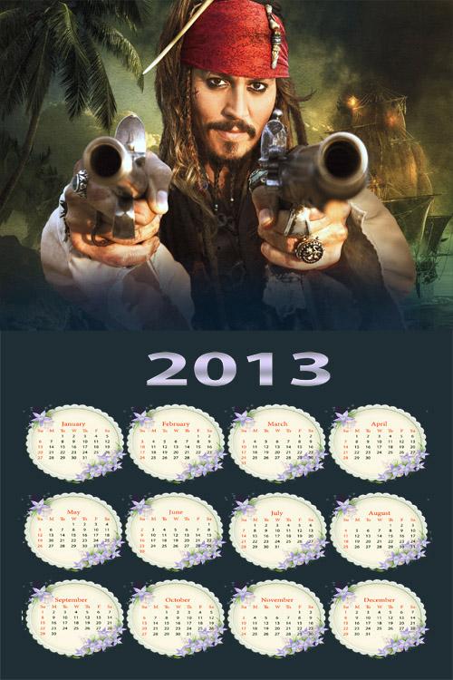 Календарь 2013 - Пираты Карибского моря, Джек Воробей