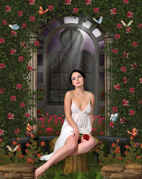 Женский шаблон - Девушка с цветком у арки