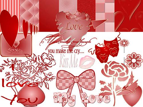 Скрап-набор к празднику влюблённым