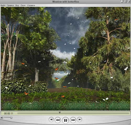 Футаж - Лесная поляна с бабочками