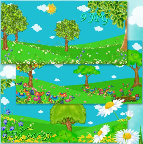 Летние детские фоны - Солнце и облака, кусты, деревья, яркие полевые цветы  ...