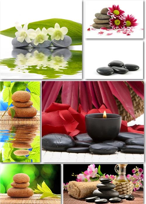 Растровый клипарт - Камни, цветы, свечи