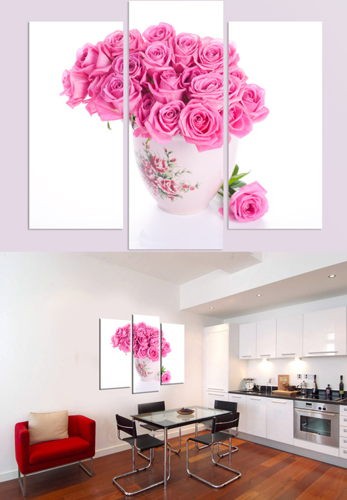Триптихи и полиптихи в psd формате - Ваза с розами, розовые розы, чайник, ч ...