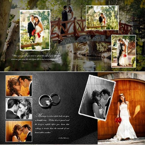 Шаблоны PSD - Свадебная фотокнига (развороты) - Wedding book