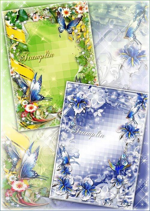 2 рамки с Цветами и Бабочками - Из тени в свет перелетая