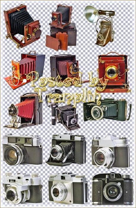 Клипарт в Psd – Старые фотоаппараты