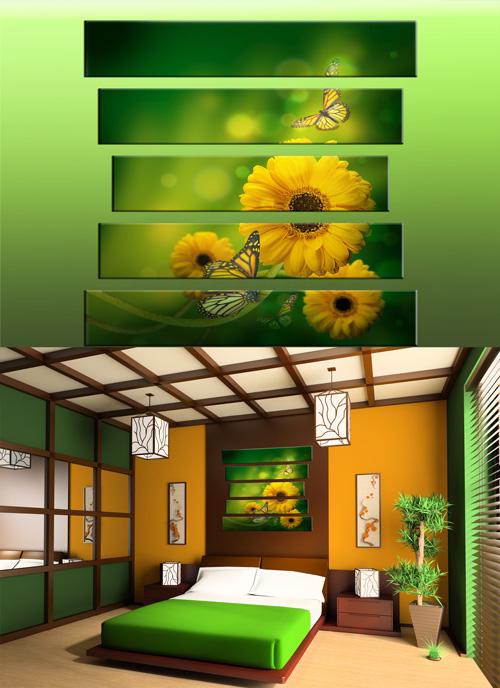 Полиптихи в psd формате - Картина с цветами, желтые цветы, бабочки