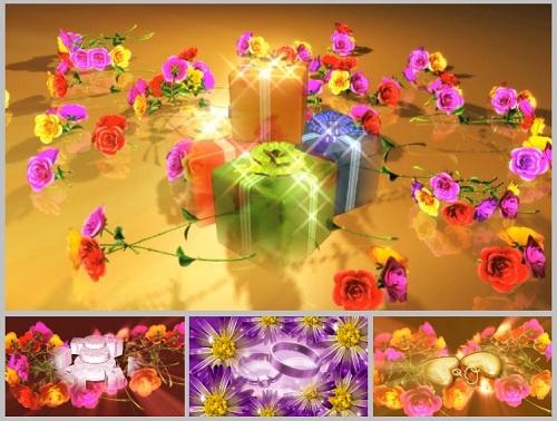Свадебные футажи-фоны Вращающиеся цветы