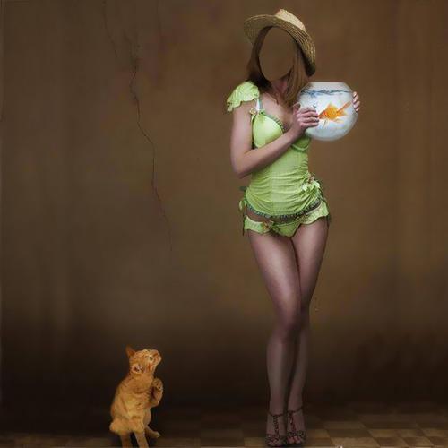 Женский шаблон - девушка и котик