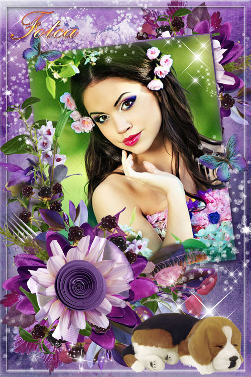 Цветочная рамка для фото - Фиолетовые грёзы