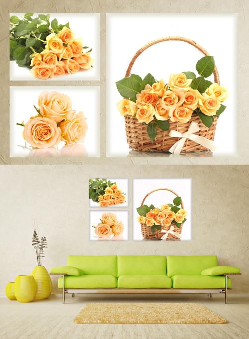 Полиптихи в psd формате - Чайные розы, корзина с розами, букет роз, цветы