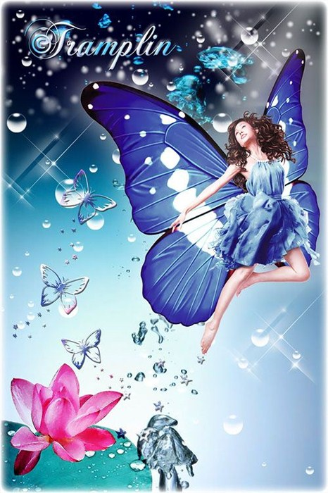 Psd исходник - Девушка-Бабочка и цветок лотоса